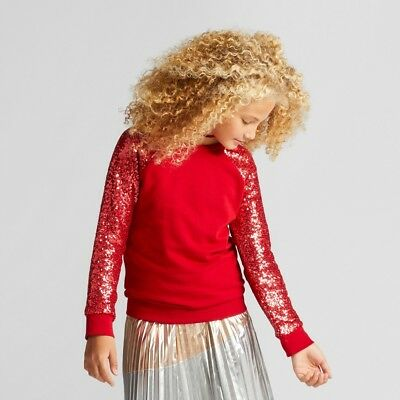 Cat & Jack Girls' Red Velvet Sequin Long-Sleeve Pullover Sweatshirt, Size XS 4/5