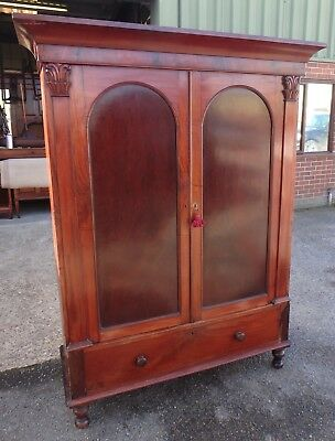 William IV plum pudding mahogany country house linen press armoire wardrobe robe