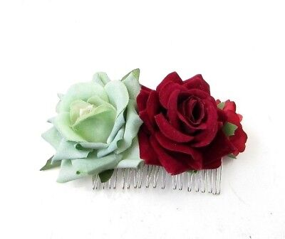 Mint Green Burgundy Red Rose Flower Hair Comb Bridesmaid Fascinator Clip 6002