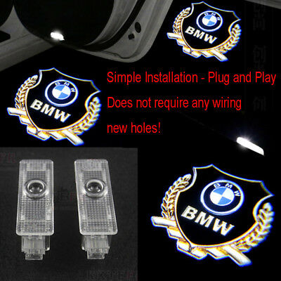 2X Gold For BMW 3 5 Series X3 X5 Led Door Ghost Shadow Welcome Projector Lights
