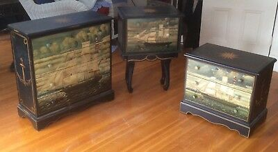 3 Piece Hand Painted Solid Wood Nautical Small Bedroom Set