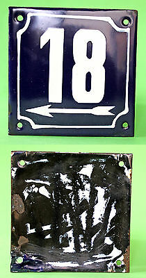Vintage Bulgarian Enamel Porcelain Tin Plate Sign No-18 Door House 1960's