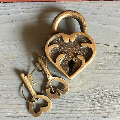 "Ornate Heart Lock, Solid Brass With Antique Finish And Two Keys, 2"" X 1.25"""