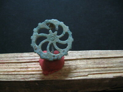 Sun Wheel Spiral Fibula Ancient Celtic Openwork Bronze Cosmic Brooch 200-50 B.c.