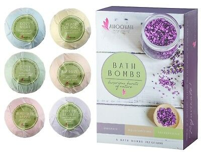 Bath Bombs Gift Set 6-XXL Natural Organic Essential Oil Stress Relief Bath Bomb