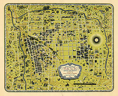 Vintage Pictorial Map Tucson and vicinity Wall Art Poster Print Vintage History