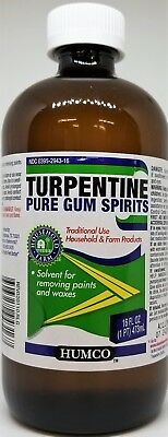 100% Pure Gum Spirits of Turpentine 16 oz by HUMCO natural turps Exp 07/2020 USA
