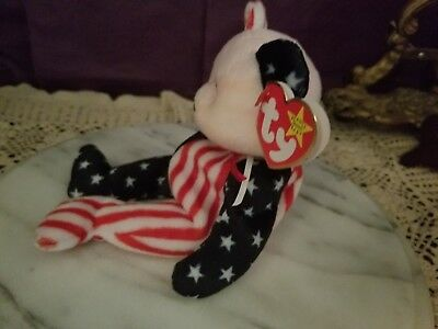 Ty Spangle 1999 Beanie Baby Original Tag Two Pattern Flag Bear Pink Face #