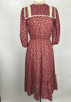 VTG 80s Dress Victorian Prairie Lace Calico Rose Floral Print Items California S