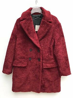Zara Burgundy Textured Coat With Lapels Jacket S 8390/623 Nwot