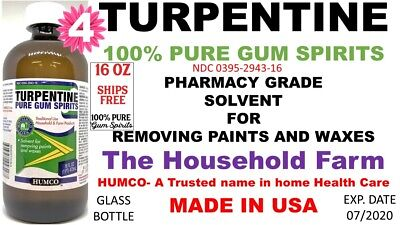 100% Pure Gum Spirits of Turpentine 16 oz by HUMCO natural turps Exp 07/2020 (4)