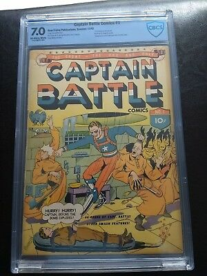 CAPTAIN BATTLE NO. 1 CBCS 7.0 UNRESTORED OW/W Classic Hooded Figures/Bondage CV