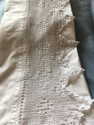 """White French vintage linen pillowcase with a 6"""" deep handmade pointed lace edge"""
