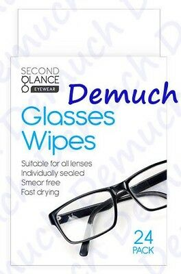 New 24 Pack Optical LENS GLASSES WIPES Cleaner Spectacle Camera Non Smear UK ✔