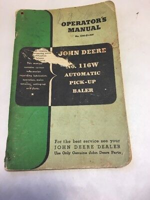 Vntg Circa 1949 John Deere Operators Manual No. 116W Automatic Pick-Up Baler