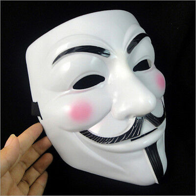 746| Masque V Pour Vendetta-Blanc PVC-Anonymous Guy Fawkes Adulte-Déguisement