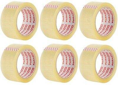 6 Rolls of Clear Parcel Packaging Packing Box Tape for 50mm Dispenser 48MM x 66M