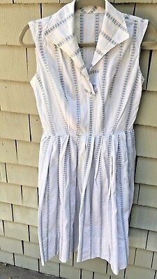 Vintage Women's Summer Cotton White And Blue Striped  Dress