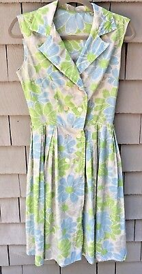 Vintage Women's Dress Blue And Green Flowers Double Breasted Buttons