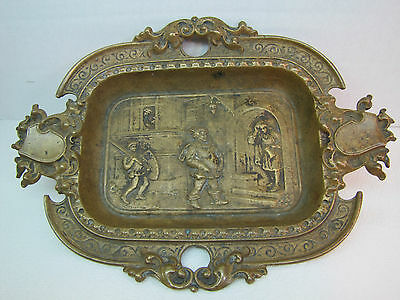 Old Bronze MEDIEVAL Scene Decorative Art TRAY CIGAR ASHTRAY Knight Sword