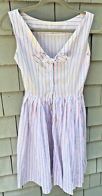 Vintage Women's Pink And Blue Striped Cotton Summer Dress