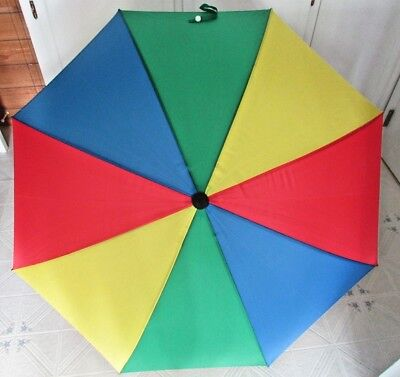 """vintage 39"""" long Aramis multi colored golf manual opening umbrella opens to 48"""""""
