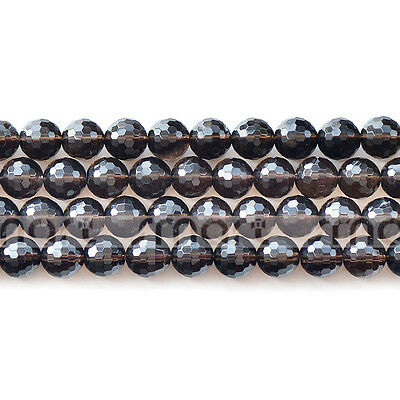Natural Faceted Smoky Quartz Loose Gemstone Beads 15.5'' 6mm 8mm 10mm 12mm