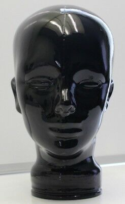"Black Glass Mannequin Head Display 11"" Tall Hollow (No Makers Mark)"