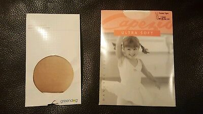 Capezio Ultra Soft footed tights BPK 1815C girls size 8-12 + bonus pantyhose