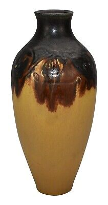 Rookwood Pottery 1922 Carved Arts and Crafts Yellow Brown Vase (Lincoln)