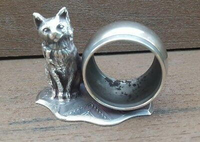 ~ Vintage ~ Figural Sitting Cat w/ Bow ~ Silverplate Napkin Ring ~ UNMARKED ~