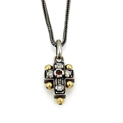 Konstantino Diamond & Ruby Sterling 18k Yellow Gold Cross Pendant Necklace