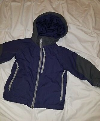 The Children's Place Boy's Navy Blue/ Grey Hooded Coat, Thermolite Size 4T