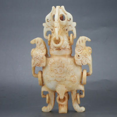 COLLECTIBLE CHINESE OLD JADE SKILLFULLY CARVING INCENSE BURNER e02