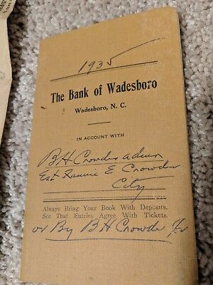 Bank of Wadesboro 1935 Depost Book And Statement Envelope Papers North Carolina