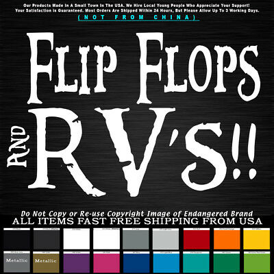 Funny Flip Flops and RV's beach camping summer party friends Decal Sticker