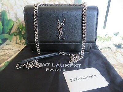 AUTHENTIC YSL Yves Saint Laurent MEDIUM SUNSET CHAIN BAG GRAINED BLACK LEATHER