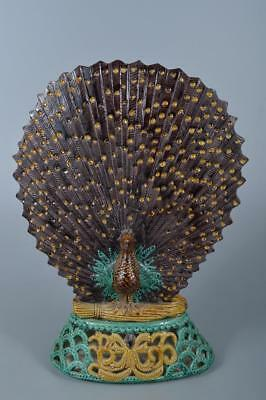 K7577: Japanese Kutani-ware BIG ORNAMENTS Display Okimono, Seizan made
