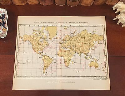 Original 1892 Antique Earth CLIMATE MAP Globe World Isotherm Temperature Lines