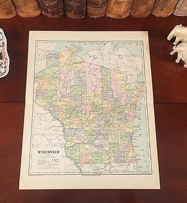 Original 1890 Antique Map WISCONSIN Madison Oshkosh Kenosha Green Bay Eau Claire