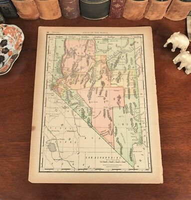Original 1893 Antique Map NEVADA Wabuska Mirage Stillwater Esmeralda Churchhill