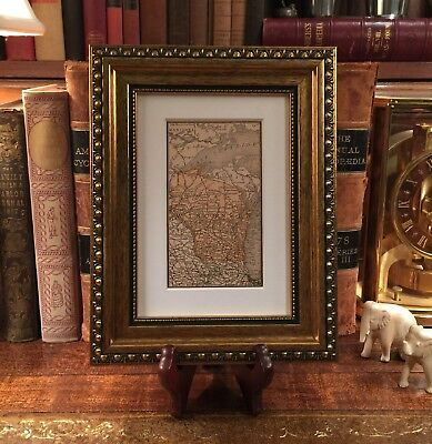 Framed Original 1889 Antique Map WISCONSIN Madison Appleton Kenosha Eau Claire