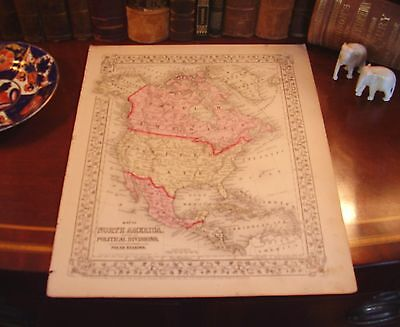 Original 1870 Hand-Colored Antique Engraved Map NORTH AMERICA United States US