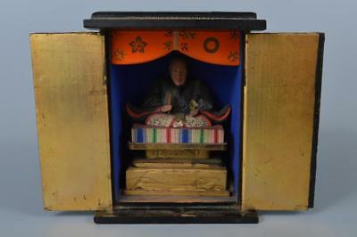 K5050:Japanese Wood carving BUDDHIST STATUE Zushi, miniature shrine in a temple