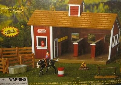 Breyer Stablemates - Little Red Stable Set w/Barn, Horse, Rider, Tack - NO BOX