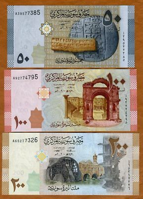 SET Syria, 50;100;200 pounds, 2009 (2010), P-112-113-114, A-prefix, UNC