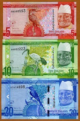 SET Gambia, 5;10;20 Dalasis, ND (2015), P-31-32-33, re-designed, UNC