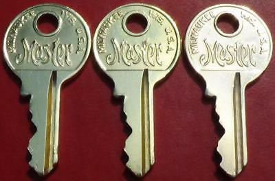 3 Vintage Brass Master Lock Co. Padlock Keys with Matching Numbers 3303
