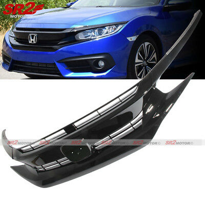 Black Front Hood Grill Grille Eyelid for 2016-2018 Honda Civic Coupe Sedan