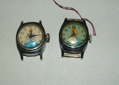 1960s WALT DISNEY LOT OF 2 CINDERELLA WATCHES